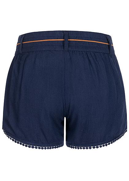 Eight2Nine Damen Sommer Shorts 2-Pockets inkl. Feder Gürtel stormy navy blau