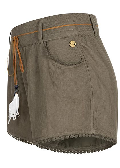 Eight2Nine Damen Sommer Shorts 2-Pockets inkl. Feder Gürtel ivy oliv grün