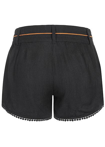 Eight2Nine Damen Sommer Shorts 2-Pockets inkl. Feder Gürtel schwarz