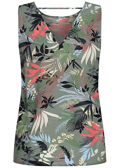 Vero Moda Damen leichtes Blusen Top Tropical Print Rückenausschnitt laurel oliv