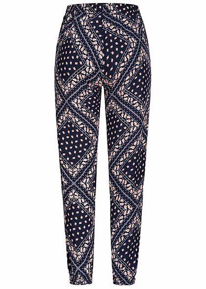 Hailys Damen Sommer Hose 2-Pockets Deko Tunnelzug Paisley Muster navy blau rot