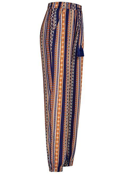Hailys Damen Sommer Hose 2-Pockets Deko Tunnelzug Geo Streifen Print navy blau braun