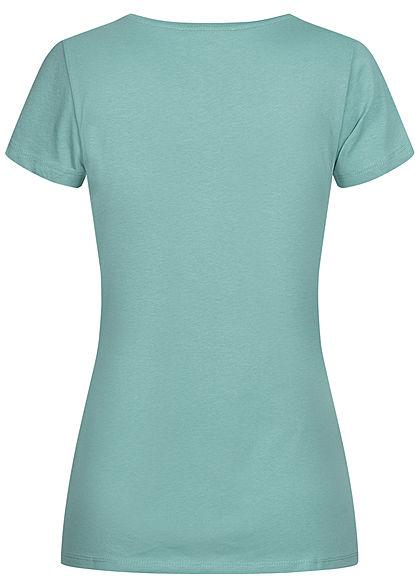 Tom Tailor Damen Basic Jersey Logo Print T-Shirt mineral stone blau