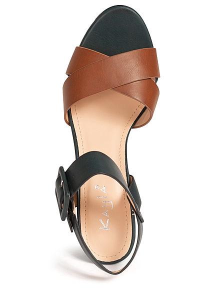 Seventyseven Lifestyle Damen Schuh Sandalette 2-Tone Kunstleder braun schwarz