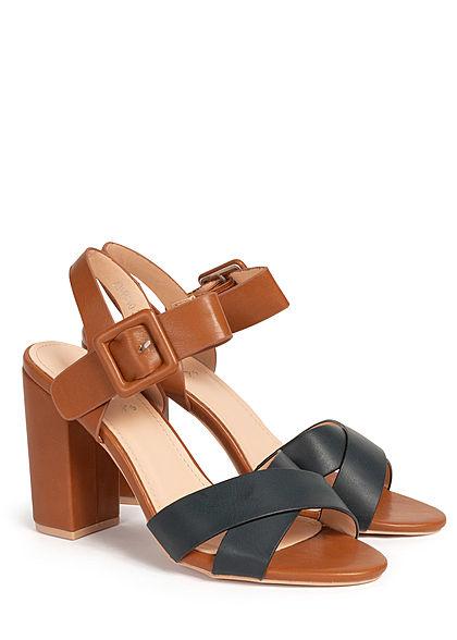 Seventyseven Lifestyle Damen Schuh Sandalette 2-Tone Kunstleder schwarz braun