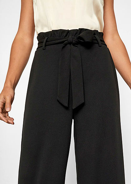 Vero Moda Damen NOOS Loose Fit Paperbag Hose inkl. Bindegürtel schwarz