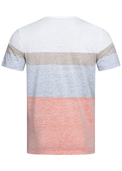Tom Tailor Herren Colorblock T-Shirt Inside Streifen Print Brusttasche orange blau beige