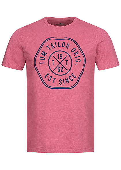 Tom Tailor Herren T-Shirt Logo Print 1962 wine rose pink