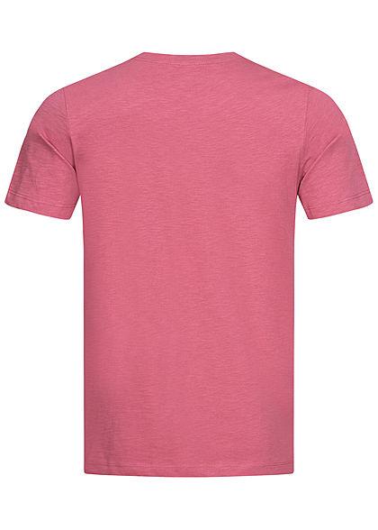 Tom Tailor Herren T-Shirt Logo Print 1962 wine rose pink