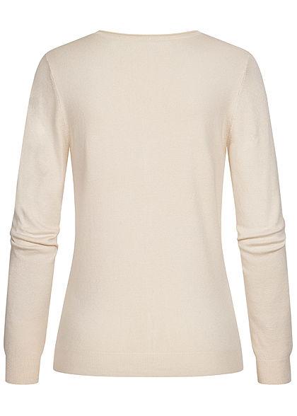 Vero Moda Damen leichte V-Neck Strickjacke mit Knopfleiste birch beige