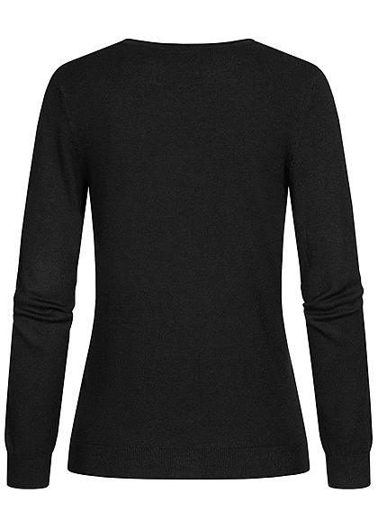 Vero Moda Damen leichte V-Neck Strickjacke mit Knopfleiste schwarz