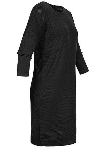 Vero Moda Damen NOOS 7/8 Arm Struktur Strickkleid Zipper Lochmuster schwarz