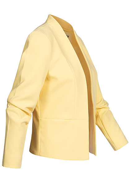ONLY Damen kurzer Blazer Schulterpolster offener Schnitt pineapple slice gelb