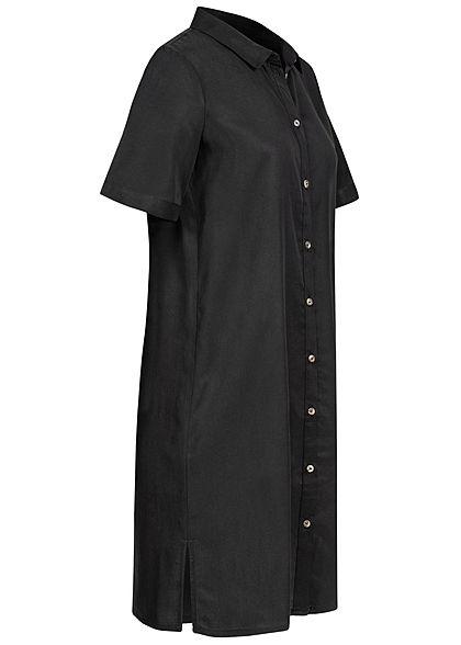 Vero Moda Damen NOOS Mini Kurzarm Blusen Kleid Tunica Seitenschlitze schwarz