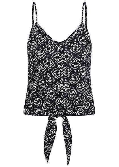 ONLY Damen V-Neck Träger Top Bindedetail Knopfleiste Mandala Print night sky navy