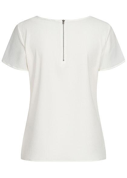 Vero Moda Damen NOOS Krepp Blusen Shirt Zipper hinten snow weiss