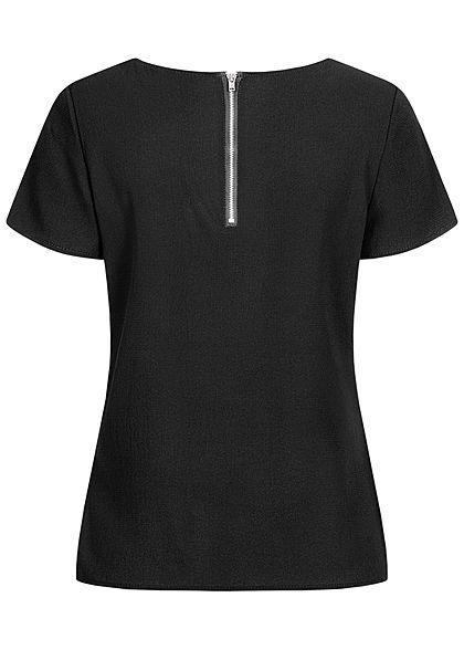 Vero Moda Damen NOOS Krepp Blusen Shirt Zipper hinten schwarz