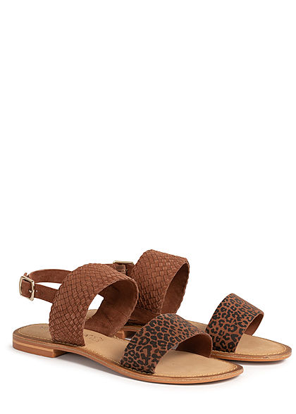 Vero Moda Damen Leder Sandale Leo Print mit Schnalle tortoise shell braun