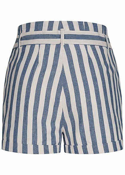 ONLY Damen Paperbag Shorts Streifen Muster Knopfleiste Bindegürtel medium blau weiss