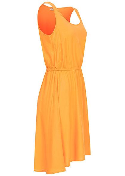 ONLY Damen Solid Kleid Taillen Gummizug Vokuhila autumn blaze gelb