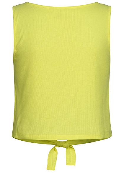 ONLY Damen Ribbed Crop Tank Top Bindedetail vorne Knopfleiste sunny lime gelb
