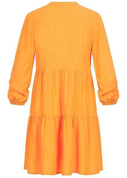 ONLY Damen Solid V-Neck Puffer Kleid autumn blaze gelb
