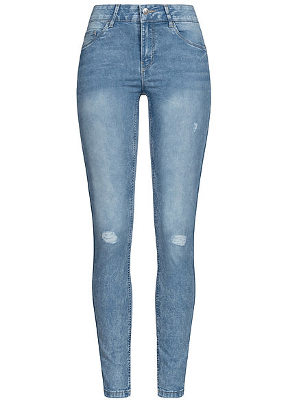 Vero Moda Damen NOOS Slim Fit Shape-Up Jeans 5-Pockets Destroy Look hell blau denim