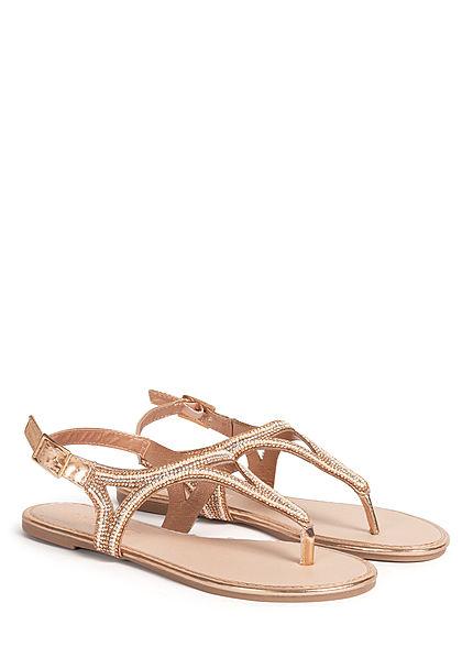 Hailys Damen Schuh Sandale Zehensteg Deko Strasssteine & Perlen rose gold