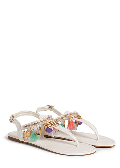 Hailys Damen Schuh Sandale Zehensteg Deko Applikationen & Perlen weiss