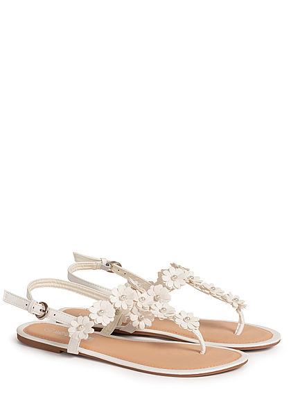 Hailys Damen Schuh Sandale Zehensteg Deko Blumen & Perlen weiss