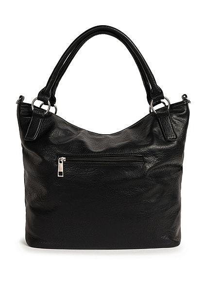 Styleboom Fashion Damen Kunstleder Handtasche 42x31cm Deko Nieten schwarz