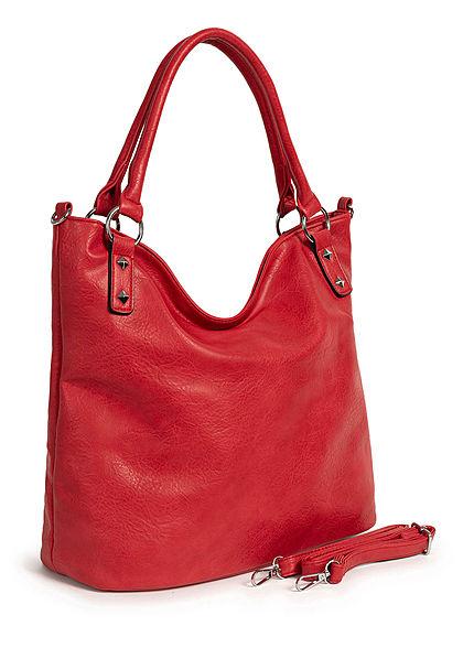 Styleboom Fashion Damen Kunstleder Handtasche 42x31cm Deko Nieten kirsch rot