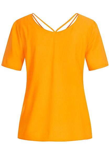ONLY Damen V-Neck Blusen Shirt mit Strings oben autumn blaze gelb
