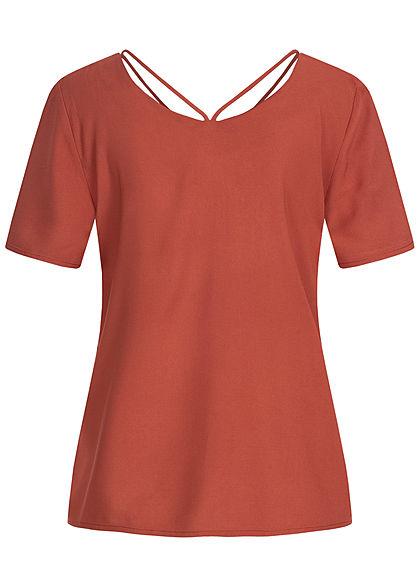 ONLY Damen V-Neck Blusen Shirt mit Strings oben burnt henna braun