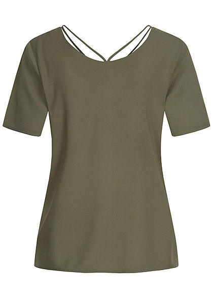 ONLY Damen V-Neck Blusen Shirt mit Strings oben kalamata oliv grün