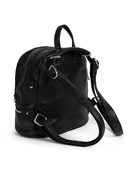 Styleboom Fashion Damen kleiner Festival Rucksack 3-Pockets 29x24cm schwarz