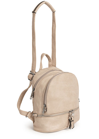 Styleboom Fashion Damen kleiner Festival Rucksack 3-Pockets 29x24cm ivory beige