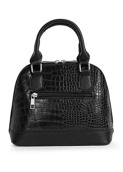 Styleboom Fashion Damen Mini Handtasche Schlangenhaut Optik ca. 24x19cm schwarz