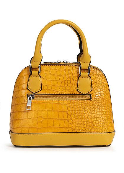 Styleboom Fashion Damen Mini Handtasche Schlangenhaut Optik ca. 24x19cm gelb