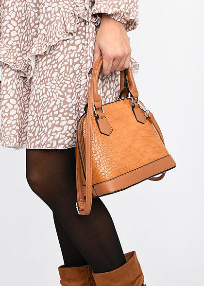 Styleboom Fashion Damen Mini Handtasche Schlangenhaut Optik ca. 24x19cm braun
