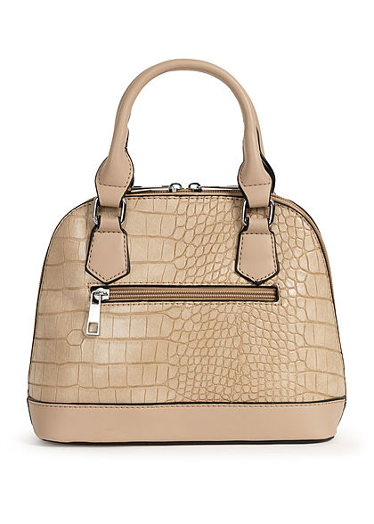 Styleboom Fashion Damen Mini Handtasche Schlangenhaut Optik ca. 24x19cm beige