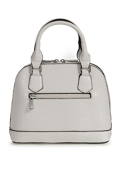 Styleboom Fashion Damen Mini Handtasche Schlangenhaut Optik ca. 24x19cm weiss