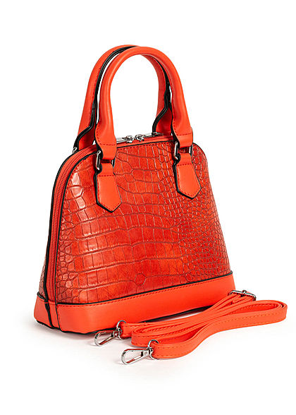 Styleboom Fashion Damen Mini Handtasche Schlangenhaut Optik ca. 24x19cm orange