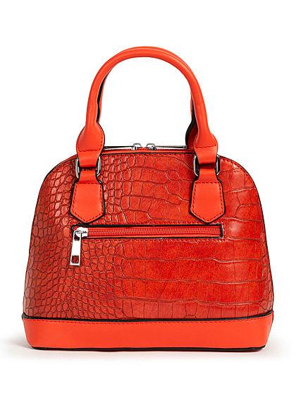 Styleboom Fashion Damen Mini Handtasche Schlangenhaut Optik ca. 24x19cm orange