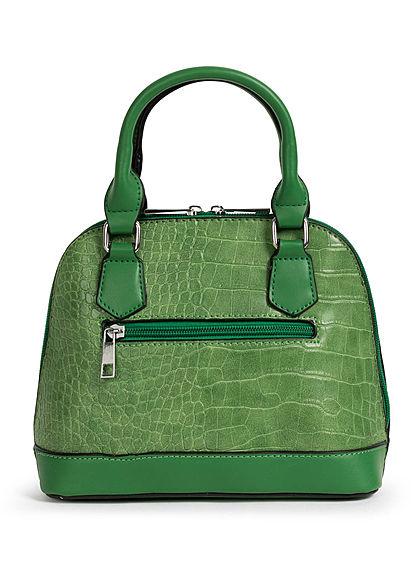 Styleboom Fashion Damen Mini Handtasche Schlangenhaut Optik ca. 24x19cm grün