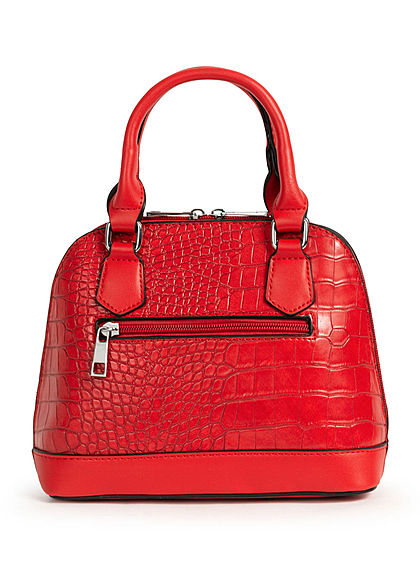 Styleboom Fashion Damen Mini Handtasche Schlangenhaut Optik ca. 24x19cm rot