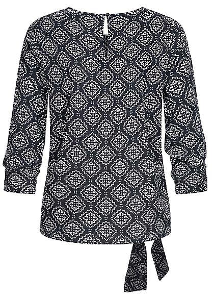ONLY Damen 3/4-Arm Shirt Mandala Print seitlich zum knoten night sky navy blau