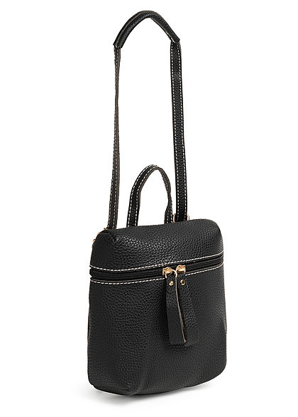 Styleboom Fashion Damen Mini Rucksack Kunstleder ca. 23x19cm schwarz