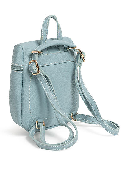Styleboom Fashion Damen Mini Rucksack Kunstleder ca. 23x19cm hell blau