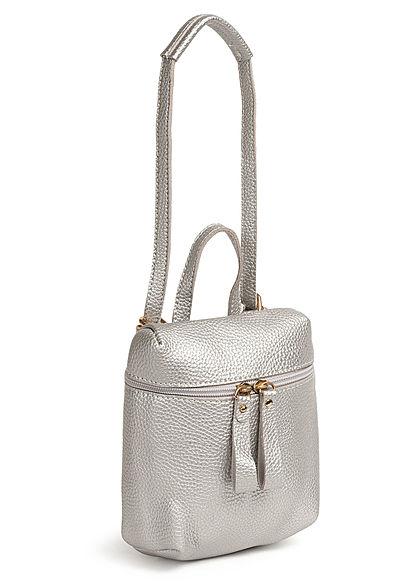 Styleboom Fashion Damen Mini Rucksack Kunstleder ca. 23x19cm silber